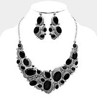 Oval glass crystal bubble evening necklace