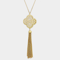 Clover Filigree Casting with chain tassel Necklace
