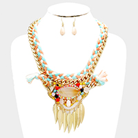 Multi Stone Statement  Necklace with Leaf Decor