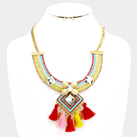 Multi Statement Necklace with Tassel Decor