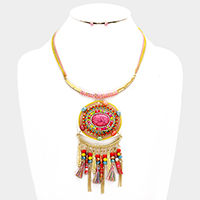 Multi Statement Drop Necklace with Tassel & Bead Decor
