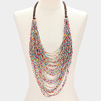 Wood Multi Layered Seed Beaded Bib Necklace
