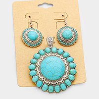 Magnetic Turquoise Pendant Set