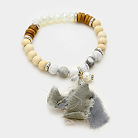 Semi Precious Stone with Fabric Tassel Stretch Bracelet
