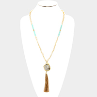 Raw Druzy Pendant with tassel & Long Glass Bead Strand Necklace