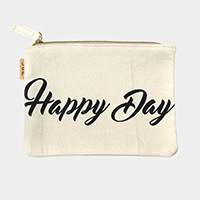 Happy Day _Cotton Canvas Eco Pouch Bag