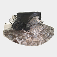 Feather Leopard Bow Organza Hat