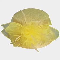Flower Bow Small Brim Sinamay Hat