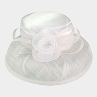 Flower Ribbon Bow Sinamay Hat