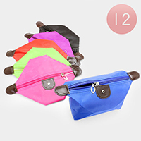 12 PCS - Solid and Neon Color Pouch Bags