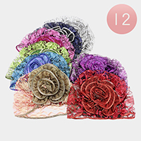 12 PCS - Multi Way Chunky Flower Net Hats