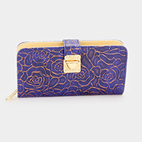 Rose Floral Embossed Faux Leather Zip around wallet