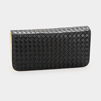 Embossed Faux Leather Double Zip Around Wallet