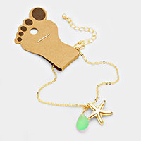 Starfish Anklet with Tear Drop Natural Stone