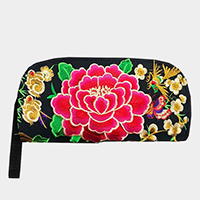 Oriental Flower Print Clutch Bag
