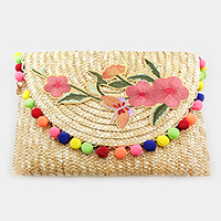 Embroidered Flower Pom Pom Straw clutch bag with chain strap