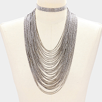 2 PCS - Multi-tier rhinestone choker + bib necklace
