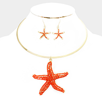 Starfish with crystal drop choker necklace