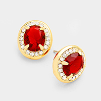 Oval shape with crystal stone Stud Earrings