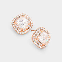 CZ Square Stud Earrings