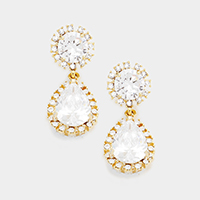 Round and Tear Drop Crystal Earrings