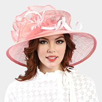 Feather Bow Accented Sinamay Hat