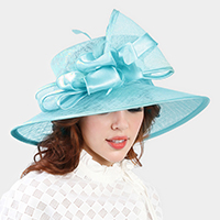 Feather & Satin Bow Accented Sinamay Hat