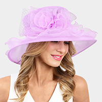 Ruffle Flower Bow Organza Hat