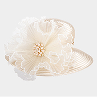 Pearl Accented Flower Dressy Hat