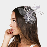 Feather & Mesh Flower Hair Pinch Clip / Brooch