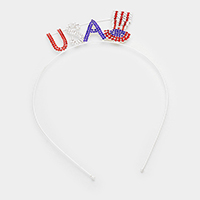 American Flag with Crystal Stone Headband