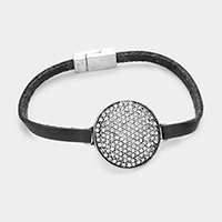 Crystal Stone on Round Shaped Casting with Faux Leather Magnetic Bracelet