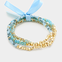 3 Pcs - Beaded with Ribbon Stretch Bracelets