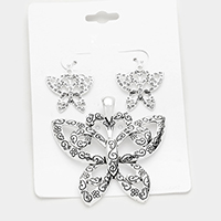 Patterned Butterfly Pendant Set