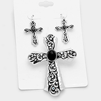 Patterned Cross with Turquoise Pendant Set