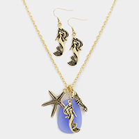 Mermaid, Starfish and Seahorse Pendant Necklace