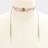 Seed Bead with Chain Tassel Wrap Choker Necklace