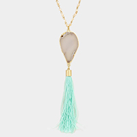 Agate Stone with Tassel Pendant Long Necklace