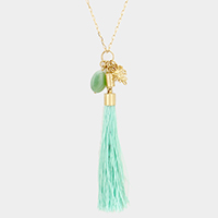 Stone & Sun face Charm with Tassel Pendant Long Necklace
