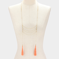 Thin Chain & Bead with Tassel Long Necklace