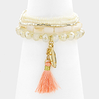 Multi Layered Strand Bead with Tassel and Leaf Stretch Bracelet