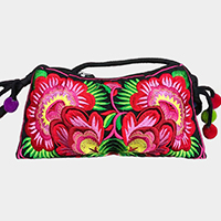 Oriental Flower Print Clutch Bag with pompom