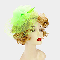 Layered Mesh Flower with Feather Headband