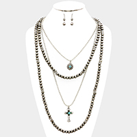 Cross & Turquoise 4-Layered Bead Necklace
