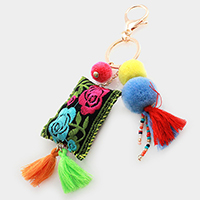 Pom Pom & Tassel Embroidered Key Chain