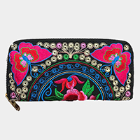 oriental butterfly embroidered zip wallet