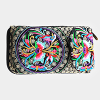 Oriental embroidered Zip Wallet