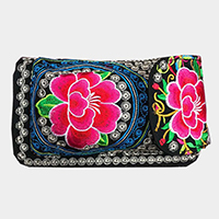 Oriental embroidered Print Wallet