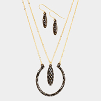 Layered Pave Crystal Oval Pendant Necklace