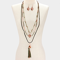 Leaf & Tassel 4-Layered Long Necklace